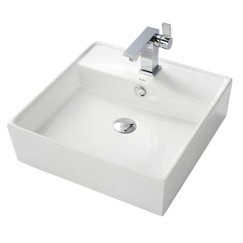 home depot ceramic sink kraus white square ceramic sink and sonus basin faucet