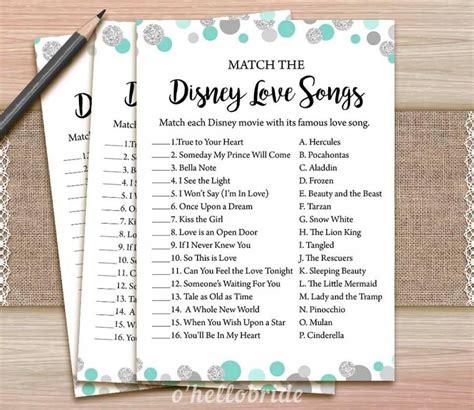 Shower Songs by Disney Songs Bridal Shower Printable Mint