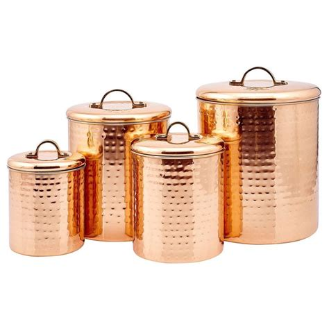 hammered copper canister 4 pack by old dutch fab com old dutch hammered copper 4 piece canister set by old
