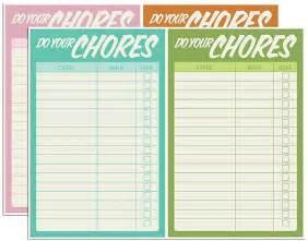 free printable chore charts fab n free