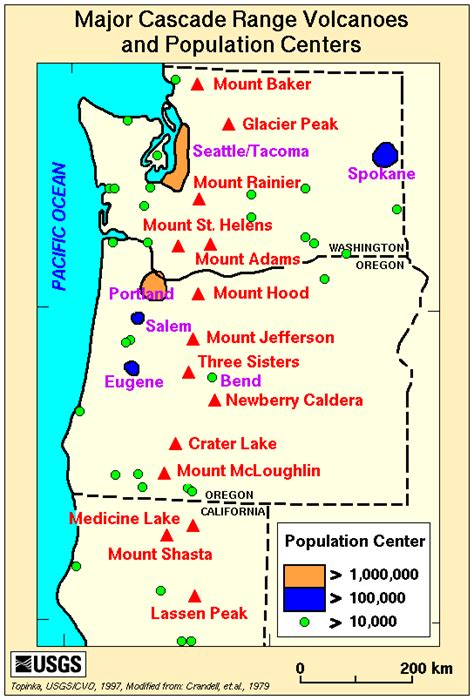 map of oregon volcanoes washington volcano map