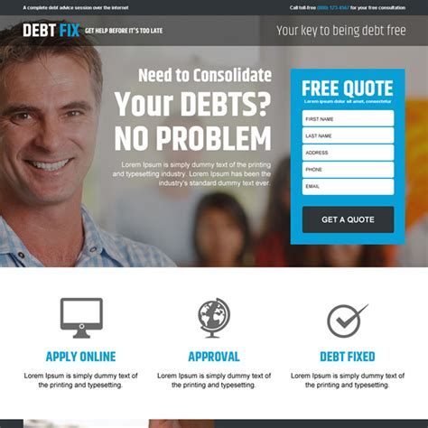 Landing Page Design For Credit Card Debt Debt Relief And Debt Settlement Lead Generation Page Template