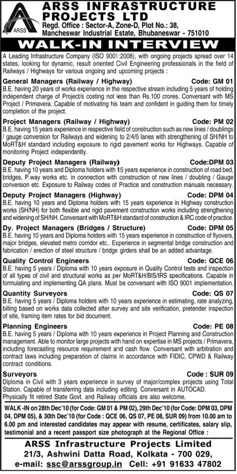 jobs in arss infrastructure project ltd vacancies in arss