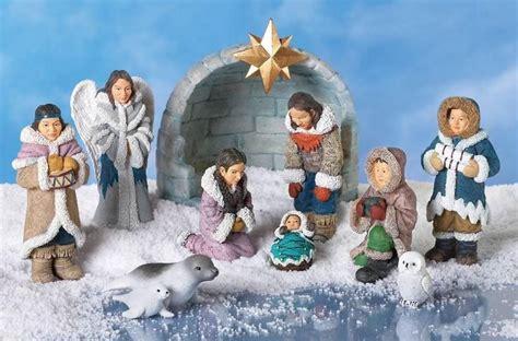 unique christmas eskimo native nativity scene display figurine set  nativity christmas