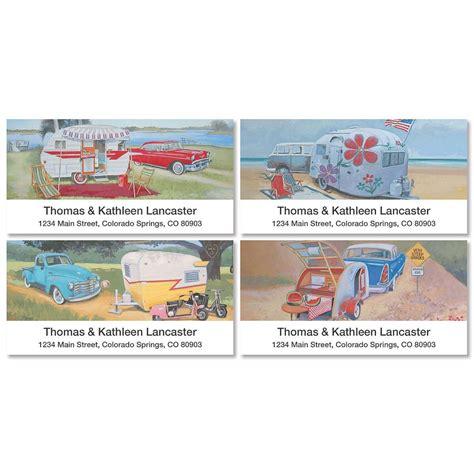 colorful images address labels vintage trailer deluxe return address labels colorful images