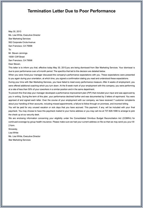 termination letter sle for poor performance 7 employment termination letter sles to write a
