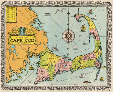 map of cape cod ma file 1932 walter m gaffney map of cape cod massachusetts geographicus capecod gaffney 1932