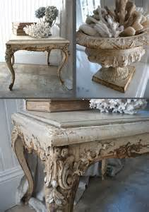 cracked painted end table urn shells whitewashed shabby chic french country rustic swedish decor
