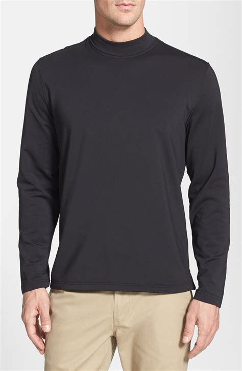 Mock Neck Sleeve T Shirt bobby jones mock neck sleeve shirt in black for