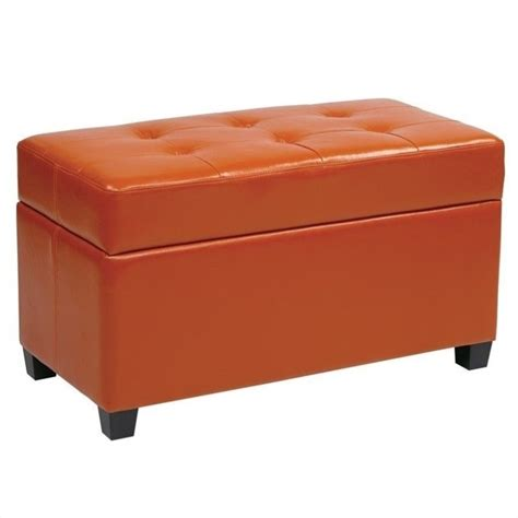 storage ottoman orange office star metro vinyl storage orange ottoman ebay