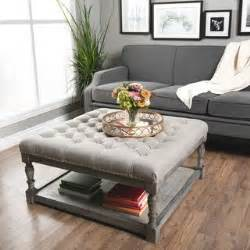 creston smoke linen tufted ottoman 1000 images about ottomans on pinterest cow hide