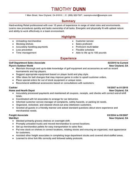 impactful professional retail resume exles resources myperfectresume