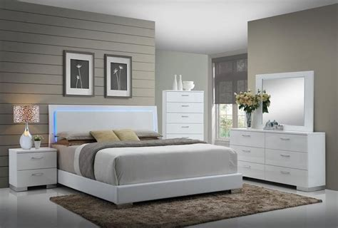Felicity Glossy White With Led Lighting King Bed Quality Led Bedroom Furniture