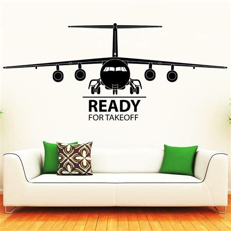 wandtattoo kinderzimmer flugzeug flugzeug mit schriftzug ready for takeoff wandtattoo