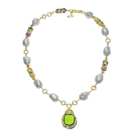 baroque pearl and peridot pendant necklace margot