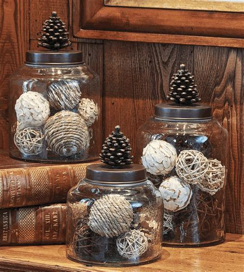 Pinecone Glass & Bronze Canisters