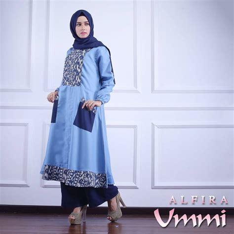 Gamis Alfira alfira blue baju muslim gamis modern