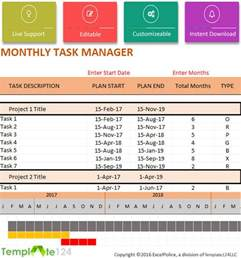 daily task manager template daily project to do list template excel 2017