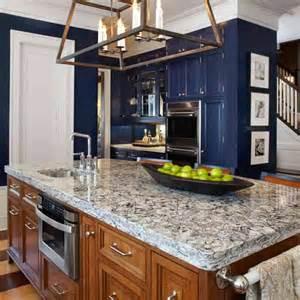 Quartz Island Countertop Navy Blue Cabinet And Opulent Quartz Countertop Using