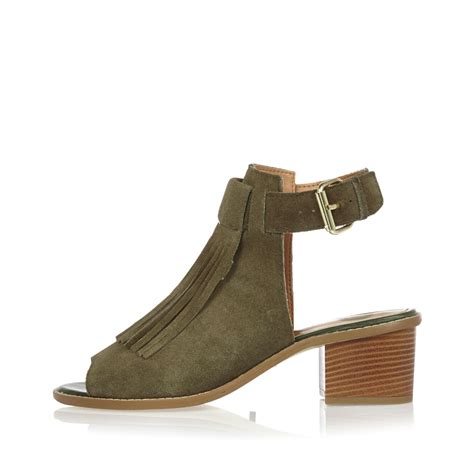 sandals with block heel lyst river island khaki suede fringed block heel sandals