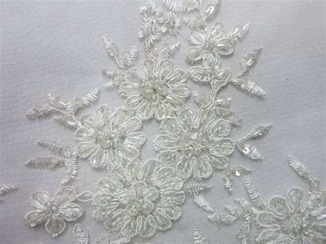 white beaded lace fabric white mesh with embroidery beaded lace
