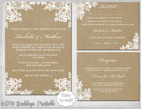 rustic wedding invitation set diy quot rustic lace quot printable