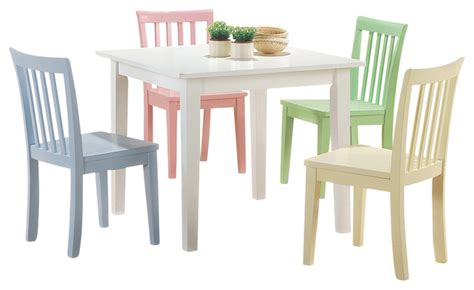 youth folding table and chairs coaster furniture 5 white yellow pink blue