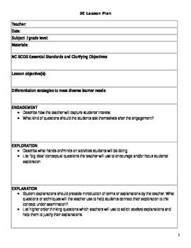 5e Lesson Plan Template By Mrs Claibornes Classroom Tpt 5e Lesson Plan Template