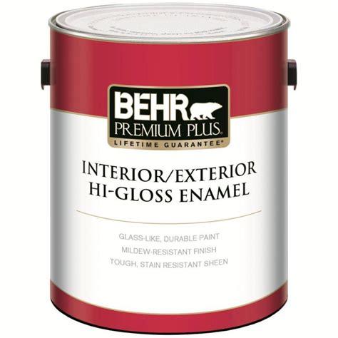 behr paint behr premium plus behr premium plus interior exterior hi gloss enamel paint ultra pure white