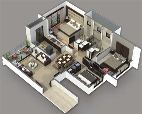 home design 3d 3 bhk 3 bedroom house plans 3d design artdreamshome