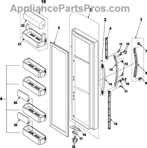 Samsung Refrigerator Parts by Parts For Samsung Rs2545sh Refrigerator Door Parts