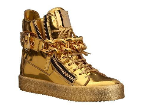 gold giuseppe sneakers giuseppe zanotti sneakers in gold laminated calf leather