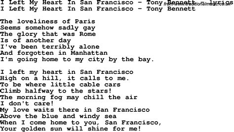 I Left My In by Song Lyrics For I Left My In San Francisco