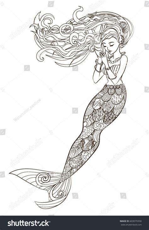 patterned illustration mermaid zentangle style sketch