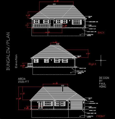 How To Draw A House Floor Plan Bungalow Design With Autocad Paulhong1