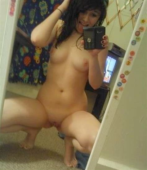 Brunette Tiny Tits Girl Kneeling Down For A Mirror Pic