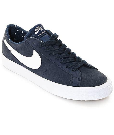 Nike Sb Blazer Navy White nike sb blazer zoom obsidian white suede skate shoes
