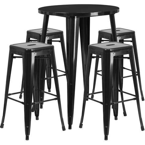 metal bar table set 30 black metal indoor outdoor bar table set with 4