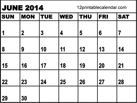 June 2014 Calendar Template by Best Photos Of Free Printable 2014 Monthly Calendar