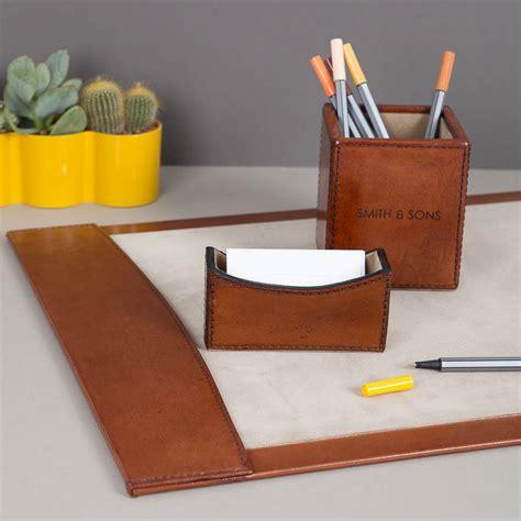 leather desk blotter set personalised suffolk leather desk set by ginger rose