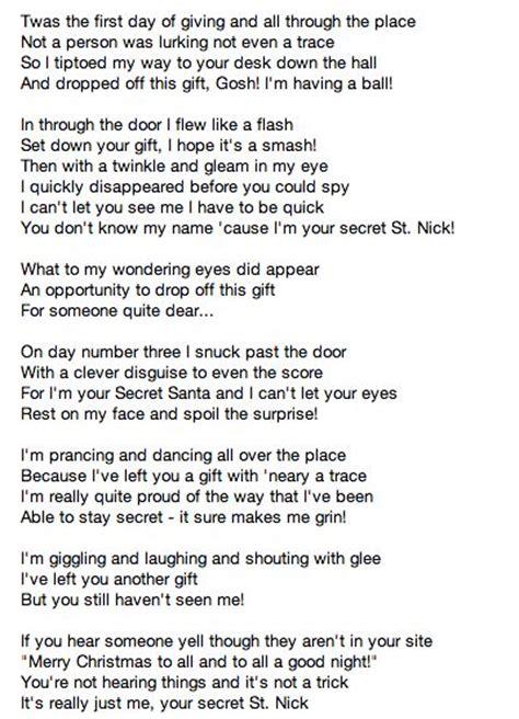 secret poems secret santa poems lauryn