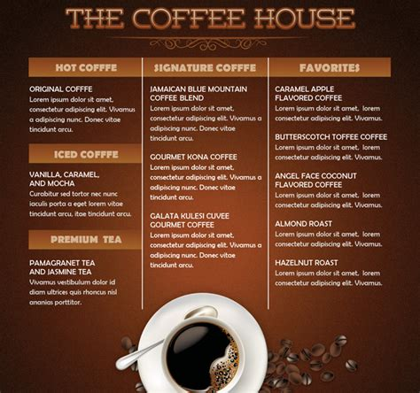 coffee house mini menu flyer template by loswl on deviantart