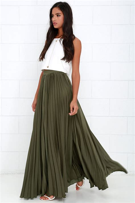 pretty olive green skirt maxi skirt accordion pleated