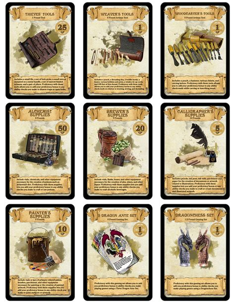 D D 5e Printable Spell Cards