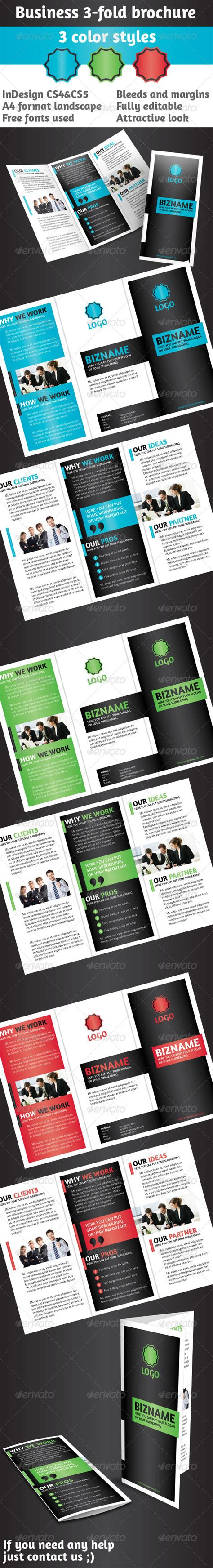 business 3 fold brochure multi color indesign graphicriver