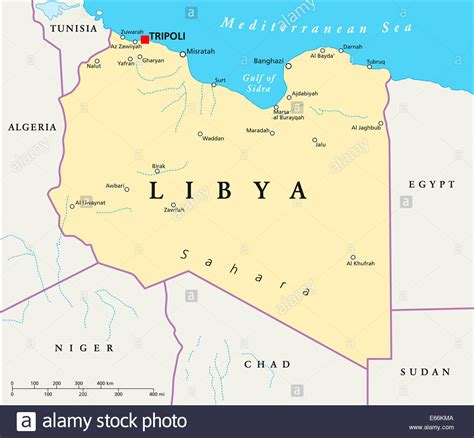 libya map libya political map with capital tripoli with national