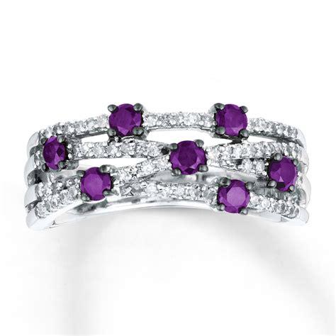 jared purple ring 3 4 ct tw cut 14k white gold