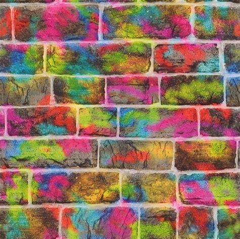graffiti wallpaper rolls multi colour graffiti neon brick wall design feature