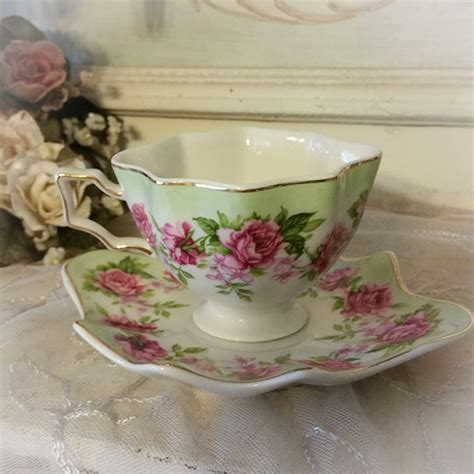 Cup And Saucer Shabby pink roses and green shabby scalloped tea cup and saucer