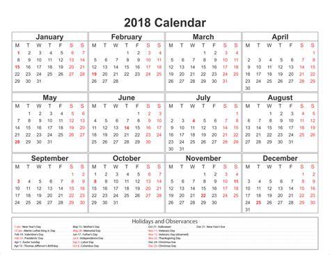 Calendar 2018 Usa Holidays Calendar For 2018 With Holidays Usa Archives Letter